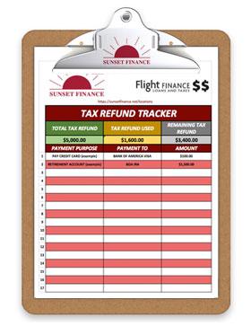 sunset-tax-refund-tracker-clipboard